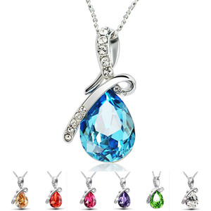 Tear lujo Angel collares pendientes cristalinos de las mujeres Por gota de agua por goteo de plata cadenas diseñador 2019 joyería de moda en la A0120 a granel