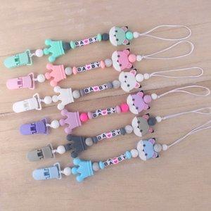 2020 novos desenhos animados Silicone Pacifier do bebê recém-nascido clipes dentição Beads BPA manequim Clipe Chupeta Titular Teether Pendant Soothie clipes B1198