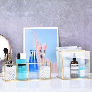 Nordic Gold Grid Glass Flip Storage Tank Box Luxury Modern Cosmetics Storage Box Container Micro-Landscape Flower Room C