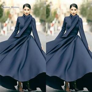 Простые A-Line Платья для выпускного вечера Высокий шею с длинным рукавом с рюшами Abric Dubai Вечернее платье макси