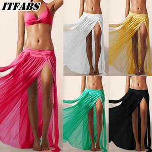 Mujeres Sheer Mesh Bikini Cover Up Beach Sarong Pareo Vestido largo cruzado Faldas divididas