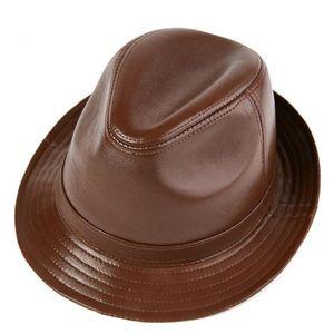 Ampia pelle tesa Maschio 100% vera pelle cappello di jazz per adulti Fedoras cappello maschile Montone Fedoras Cap Uomo Cowboy