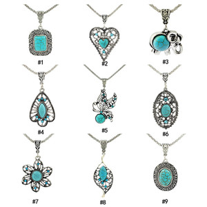 Turquesa colares Vintage Praça elefante folhas do coração flor de pedra natural cadeias pendente longo Para as mulheres jóias de Moda