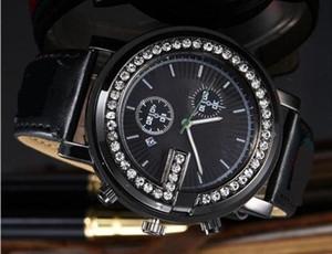 Orologi di lusso Unisex Donna Uomo Orologio Shinning Diamanti Bezel Cinturino in pelle Top Brand Quarzo da polso per gli uomini Lady Best Gift