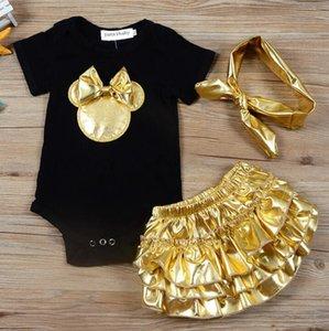 Roupas de bebê Define macacãozinho menina Bow Headband Botão infantil Macacão Bebê recém-nascido Tops + saia definir Bodysuits Moda Outfits GGA3507-1
