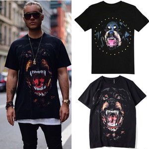Venta caliente Impreso Rottweiler Cabeza de Perro de Algodón Jersey Efecto Vintage Camiseta Para Hombre Diseño de Moda Street Tee Hombre
