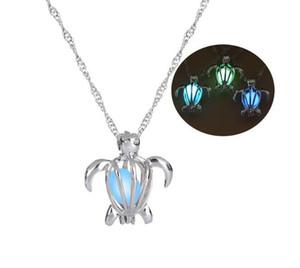 3 цвета светятся в темноте Черепаха кулон ожерелье полые жемчужные клетки кулон световой камень ожерелья Для женщин ювелирные изделия Хэллоуин подарок