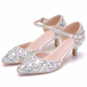 2 дюйма с низким каблуком горный хрусталь свадебное платье обувь Crystal AB цвет острым носом тонкие пятки туфли на высоком каблуке кристалл одиночные туфли большого размера