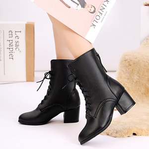 Hot Sale-Flock style occidental femmes Chaussures hiver Bottines bout pointu plate-forme Zipper talon carré Med Boot