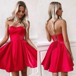 2020 Little Red Mini Kısa Parti Elbise Yeni Ucuz Sevgiliye A Hattı Saten Korse Geri Kısa Hüsniye Moda Kokteyl Parti Elbise BM0940