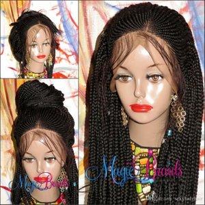 Totalmente Handtied áfrica mujeres americanas peluca de trenzas trenzas peluca de color / ombre negro / marrón caja de trenzado trenzas peluca delantera del cordón con el pelo del bebé