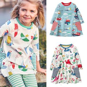 Vestir de manga vestido de las muchachas del animal apliques de rayas Estrellas Niños largo de la niña Ropa algodón ocasional otoño invierno ropa de los niños 2-7T 07