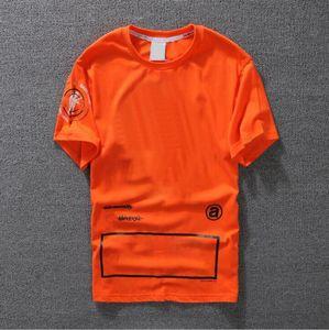 2020 Casual T-shirt Mens Clothing Summer Mens Shirt Black White Orange Asian Size S-XXL Cotton Blend Crew Neck Short Sleeve Cartoon Print0.0