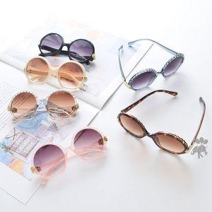 Kız erkek UV 400 bisiklet gözlüğü çocuklar LJJA-2422 kremi yaz çocuklara yuvarlak şekil çerçeve güneş gözlüğü çocukları güneş gözlüğü