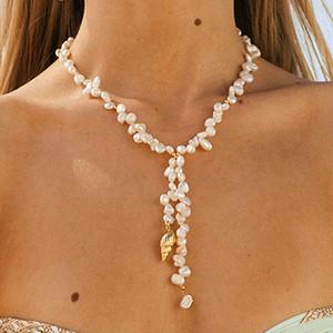 Бого мода золотая раковина ожерелье натуральный жемчуг изготовление красивое ожерелье женщины барокко ювелирные изделия шарм лучший женский подарок