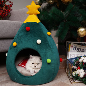 Christmas Tree Cat House Cute Half Closed Cat Tent Beds for Indoor Cats Cave Bed Warm Soft Winter Pet Cat House Semi-Closed Tree Shape