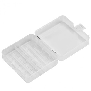 VBESTLIFE portátil de soporte de la batería del estuche rígido PP Caja de almacenamiento caja transparente para 2 x 26650 baterías con gancho 15