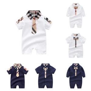 Новорожденный Baby Boy Rompers Младенческая Детские Хлопок Плед Комбинезоны с Детскими Дизайнерская Одежда Мальчик Onesies Baby Boy Галстук Отворот Боди 06