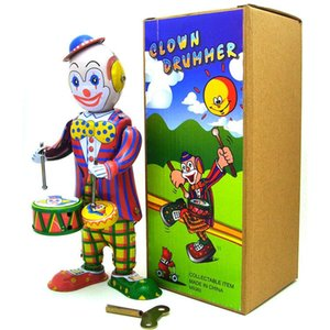 NB desenhos animados Tinplate Retro Wind-Up Toy, Palhaço batida do tambor, Nostalgic Estilo, ornamento individual, presentes do aniversário do miúdo Xmas, Coleção, MS363, 2-2