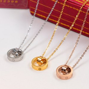 Best LOVE Dual Circle Pendant Rose Gold Silver Color Necklace for Women Vintage Collar Costume Jewelry with original box set