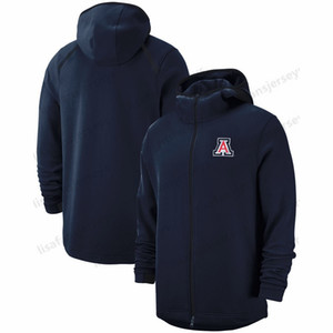 Arizona Wildcats Tişörtü 2018-2019 On-Mahkeme Basketbol Player Showtime Performans Hoodie Navy Erkek NCAA Spor Hoodies Tam Zip