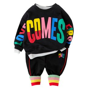 New Spring Autumn Children Casual Clothing Baby Boys Girls Letter T Shirt Pants 2Pcs sets Kids Infant Clothes Toddler Tracksuit