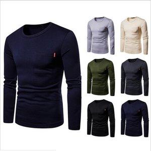 Gli uomini di stile casuale T-shirt manica Figura intera O-Collo Collare Nessuno decorazione SleeveStyle regolare 2019 New Fashion