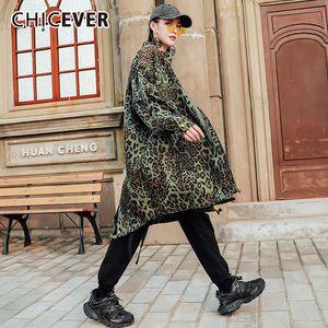 CHICEVER Leopard Vintage Lace Up bowknot Jacket Mulheres lapela Collar manga comprida cor hit Trench Feminino 2020 New Fashion Clothes