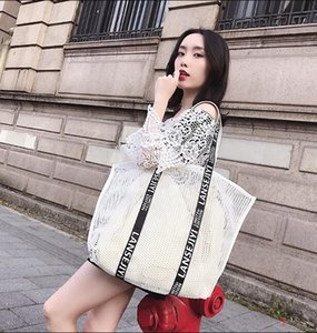 Feminino Designer Mulheres Handbag de luxo oca-out Summerc Mesh Bag Único Shoulder Bag Oversize Praia Shopping Bag Vela / ph-rg2010103