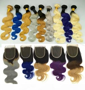 Brazilian Body Wave Human Hair Weaves with Lace Closure Human Hair Weaves Ombre Red Blue Purple 99J Burgundy 1B 4 27 Hair Weft