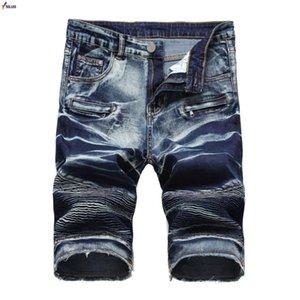 Verão Denim Shorts Homens estiramento Slim Fit Short Jeans Mens Cotton Casual afligido Shorts comprimento do joelho Denim curto