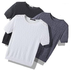 Neck Fashion T Shirts Mens Designer Tshirts Hollow Out Summer Breathable Casual Short Sleeve Tops Crew