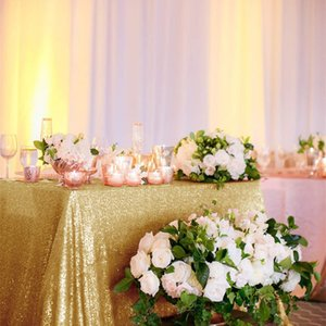 90*156Inch(225*390cm) Gold Rose Gold Silver Pink Royal Blue Sequin Tablecloth Rectangle Glitter table cover for Party Wedding  Y200421