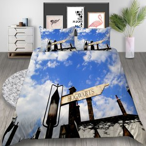 Road Sign Juego de cama impreso Queen Size Beautiful Sky Romantic 3D Funda nórdica King Home Deco Single Single Bed Cover con funda de almohada
