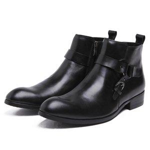 Кожаные ботинки Мужчины Пряжка Новоселье коровьей Make-Style Black Brown Спецобувь Botas