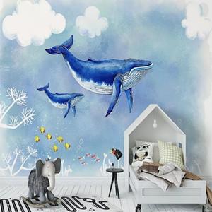 Costume grande mural 3D papel de parede Nordic de banda desenhada de forma criativa voando baleia quarto criança decoração da parede TV de volta profunda 5D em relevo