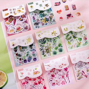 DIY Pflanze Blume Flamingo Aufkleber nett Papier ablum Tagebuch dekorative Klebeetiketten Schreibwaren Schulbedarf Scrapbooking