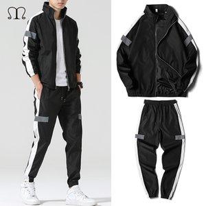 Men's Set Fashion Sports Men Sweatsuit Hip Hop Fitness Clothing Two Pieces Sweatshirt Sweatpant Male Tracksuit Black White Grey T200704