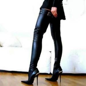 Sexy Mujeres de cuero negro por encima de la rodilla Botas altas ajustadas Punta estrecha Slim Fit Tacones para mujer Zapatos de banquete Mujeres Botas altas