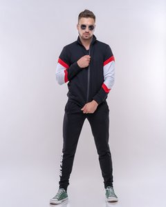 Men's sports suit 2020 European and American men's new stand collar sports and leisure suit two-piece set