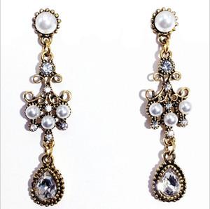 Retro tun alte barocke Quastenperle lange Ohrringe ethnische Kristallfrauenohrringe
