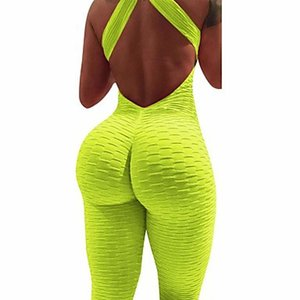 Urbanica Solid 13 Colors European And American Popular Women's Open Back Yoga Exercise Fitness Pants Jacquard Buttock Jumpsuit