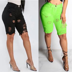 Kadınlar Skinny Diz Boyu Jeans Casual Katı Renk Ripped Delik Jeans Yeni Moda İnce Kadınlar Jeans