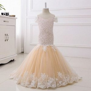 2020 Flower Girl Dresses Mermaid Off Shoulder Floor Length Girls Pageant Dresses With Lace Applique For Wedding Party