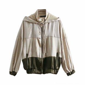 2019 Vintage Women contraste couleur Vêtements Manteaux manteaux de femmes épissé dames veste en vrac occasionnels poches chics manches longues lei