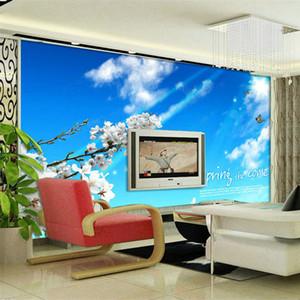3D não-tecido murais de papel de parede bule céu maravilhosa primavera paisagem papel de parede de pano de seda padrão HD papel de parede mural