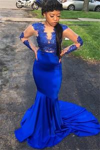 Royal Blue Mermaid Prom Vestidos formales con manga larga 2019 Mancha de encaje Pura joya Cuello Barrido Tren Ocasión africana Vestido de noche Vestido