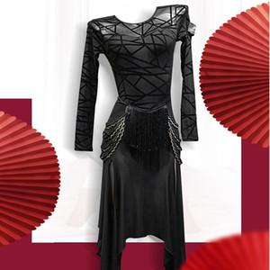 latino competição da dança trajes de estilo latino mulheres se vestem roupas salsa vestido cha cha dança vestir preto moderno