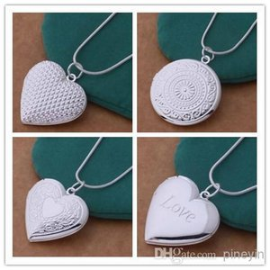 20pcs Mix 4 styles 925 silver plated heart pendant necklace fashion jewelry Valentines gift photo Locket NE32