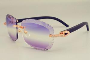 2019 الشحن المجاني DHL عدسة نقش 8300715-B النظارات الشمسية أزياء الماس الصغيرة واقي من الشمس الطبيعي الخشب النظارات الشمسية السوداء عدسة 3.0 سمك